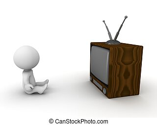 3D Man sitting in front of retro TV - A 3D guy sitting in...