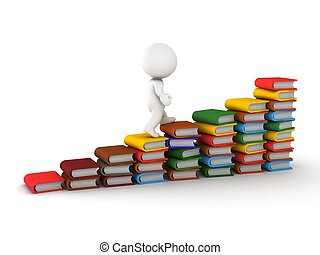 3D Man Climbing stairs made of book - A 3D guy climbing on...