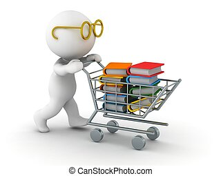 3D Man Shopping for Books - A 3d guy wearing glasses pushing...