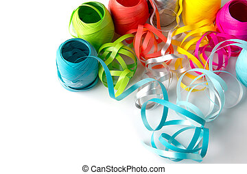 Color Ribbon - 02 - Set of colorful paper ribbons on white...