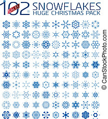 102 abstract Christmas snowflakes. Huge icon set isolated on...