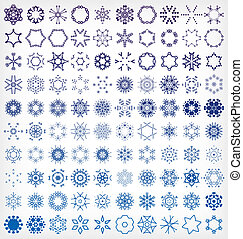 Set of winter snowflake icons For Christmas New year decor