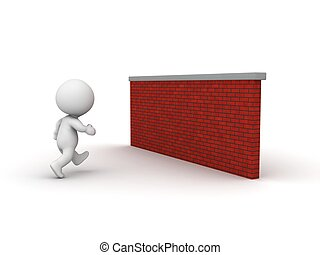 3D Man running toward brick wall - A 3d guy running toward a...