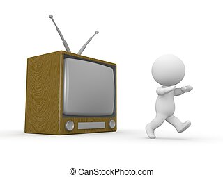 3D Man running away from TV - A 3D guy running away from a...