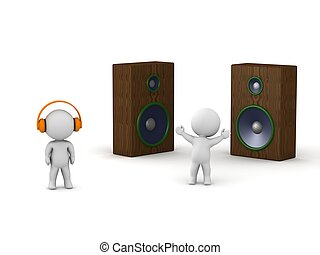 3D Men with headphones and with spe - Two 3d guys - one...
