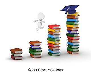 3D Man studying concept with books - 3D guy jumping on...