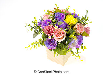 Colorful roses in a vase on white background and with clipping path