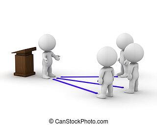 3D, hombre, público, orador, conectado, ingenio