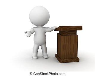 3D Man giving speech beside lectern