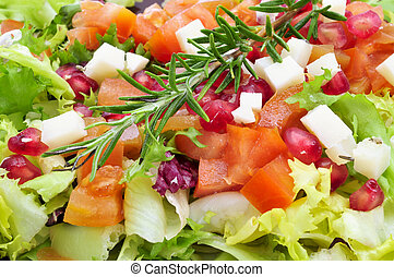 salad - closeup of a plate with refreshing salad, made with...