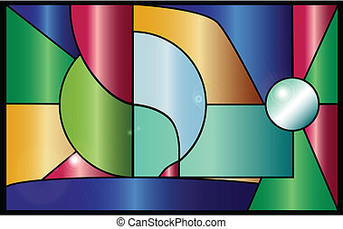Stained Glass - Modern style stained glass window with...