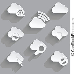 Cloud icon set white plastic e mail
