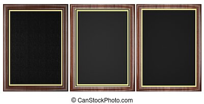 Wood Plaque Collection isolated on white background.