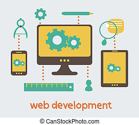 Flat design of business branding and development web page