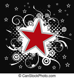 Red star illustration with swirls and circles