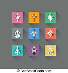 Set of Abstract Christmas Trees in Flat Design Style on...