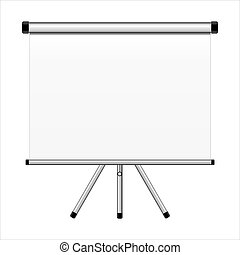 Projection screen on tripod isolated on white background