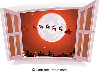 Christmas Landscape Outside The Window - Illustration of a...