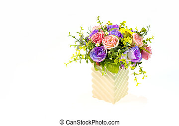 Colorful roses in a vase on white and with clipping path