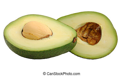 Cutted avocado fruit isolated on white
