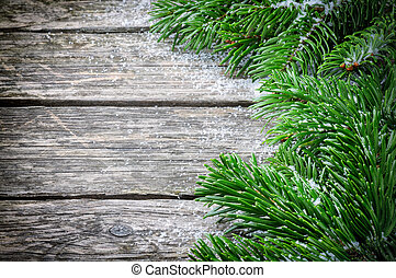 Winter frame with Christmas fir tree branches - Vintage...