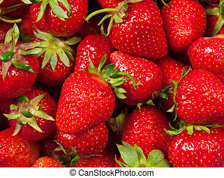 Strawberry background - Background from fresh ripe vivid...