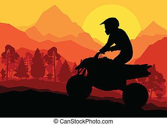 Wszystko, teren, pojazd, quad, Motorower, jeździec, Wektor,...