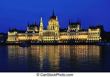 Parlament building in Budapest, Hungary - Night view of...
