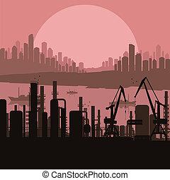 Industrial factory landscape background illustration