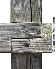 Wood joint made of gray and weathered wooden beams