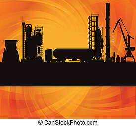 Oil refinery station and track background vector - Oil...