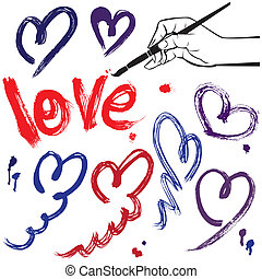Set of brush strokes and scribbles in heart shapes and word LOVE - sketch elements for Valentines Day design.