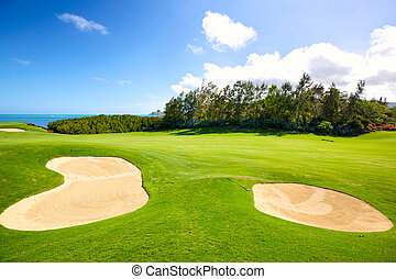 Golf Course - Golf course with sand bunkers in Mauritius...