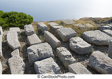 Ancient Thera. - Ancient Thera on Santorini island in...