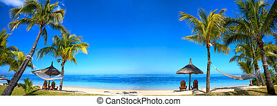 Tropical beach panorama - Panoramic view of Mauritius beach...