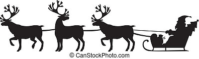 Santa Claus riding a sleigh with reindeers - Silhouette...