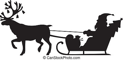 Santa Claus riding a sleigh with reindeer - Silhouette image...