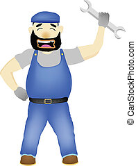 Maintenance Man with wrench vector