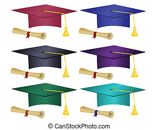 Multiple colored graduation hats an