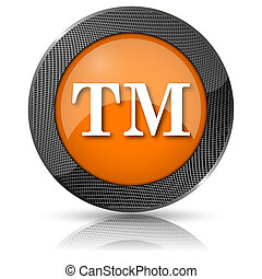 Trade mark icon - Shiny glossy icon with white design on...