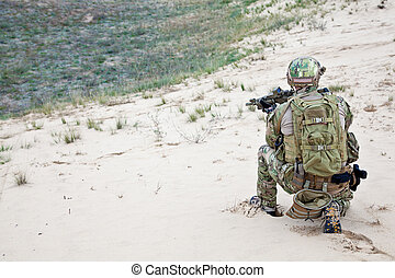 soldier in the desert - US soldier in the desert during the...