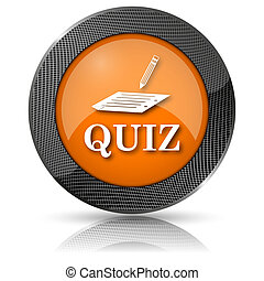 Quiz icon - Shiny glossy icon with white design on orange...