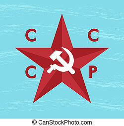cccp star - blue grunge background with cccp star