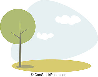 Vector green tree on the hill at blue sky spring or summer...
