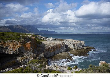 Hermanus Bay - Coastline at Hermanus in the Western Cape of...