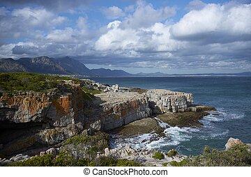 Hermanus Bay - Coastline at Hermanus in the Western Cape of...