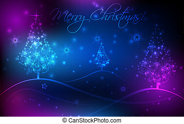 Abstract background with Christmas trees