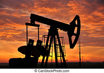 Oil pump in the sunset