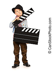 producer - Full length portrait of a cheerful boy holding...
