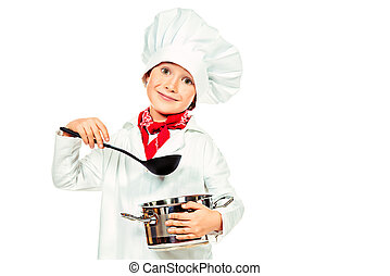 delicious dish - Portrait of a little boy cook holding pan...